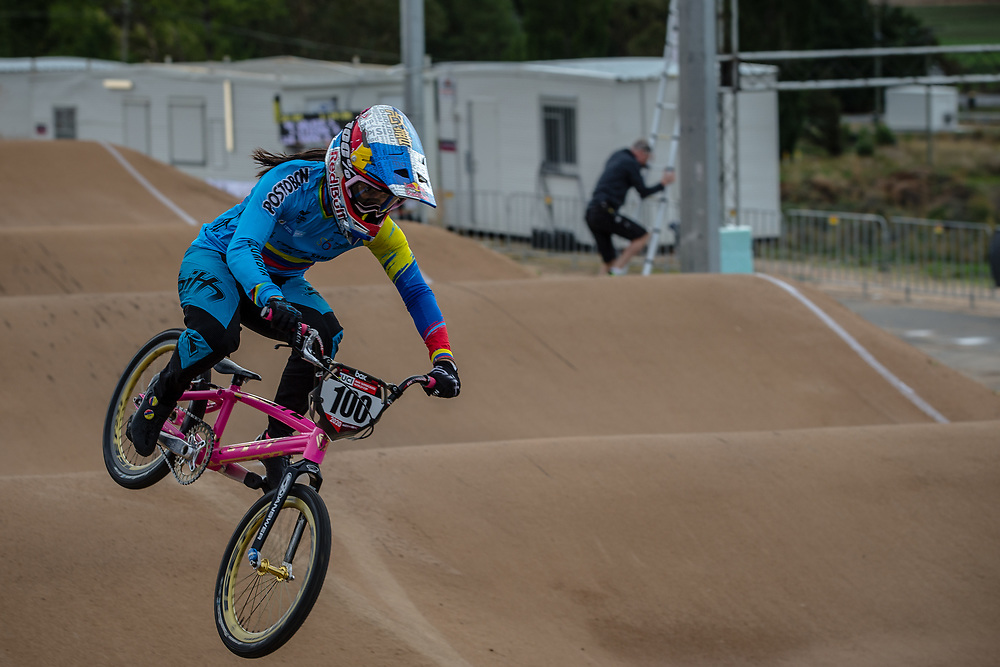 #100 (PAJON Mariana) COL at Round 3 of the 2020 UCI BMX Supercross World Cup in Bathurst, Australia.
