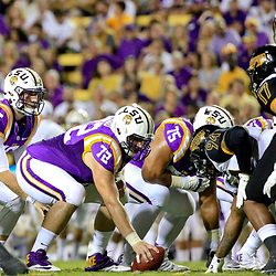 Oct 15, 2016; Baton Rouge, LA, USA;  LSU Tigers quarterback Danny Etling (16) line up against the Southern Miss Golden Eagles during the first half of a game at Tiger Stadium. Mandatory Credit: Derick E. Hingle-USA TODAY Sports