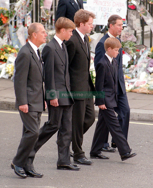 The Funeral takes place of Diana, Princess of Wales.  (L-R) The Duke of Edinburgh, Prince William, Earl Spencer, Prince Harry and the Prince of Wales follow the coffin of Diana, Princess of Wales, to Westminster Abbey for her funeral service.