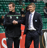 05/11/15 UEFA EUROPA LEAGUE GROUP STAGE<br /> CELTIC v MOLDE FK<br /> CELTIC PARK - GLASGOW<br /> Celtic manager Ronny Deila (left) with Ole Gunnar Solskjaer