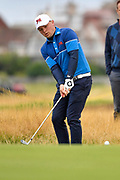 Alex Fitzpatrick (GB&I) chips to the first green during the Saturday morning Foursomes in the Walker Cup at the Royal Liverpool Golf Club, Saturday, Sept 7, 2019, in Hoylake, United Kingdom. (Steve Flynn/Image of Sport)