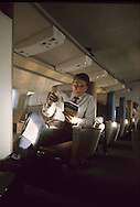 Candidate Ronald Reagan on a plane to Florida in 1976..Photograph by Dennis Brack bb 34