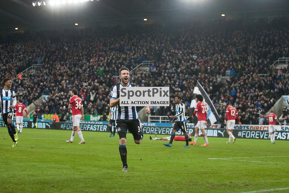 Newcastle v Manchester Utd 12 January 2016<br />Paul Dummett celebrates his goal.<br />(c) Russell G Sneddon / SportPix.org.uk