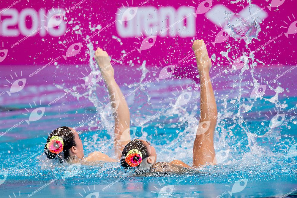 BAKIRCI Defne  TUR GUNDES Misra  TUR<br /> London, Queen Elizabeth II Olympic Park Pool <br /> LEN 2016 European Aquatics Elite Championships <br /> Synchronised Swimming Synchro Duet Tech<br /> Day 06 13-05-2016<br /> Photo Giorgio Scala/Deepbluemedia/Insidefoto