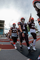 KELOWNA, BC - AUGUST 17:  Alex Douglas #1, Kayel BERGLAND #23 and Josh KEEN #77 of Okanagan Sun walk to the field against the Westshore Rebels  at the Apple Bowl on August 17, 2019 in Kelowna, Canada. (Photo by Marissa Baecker/Shoot the Breeze)