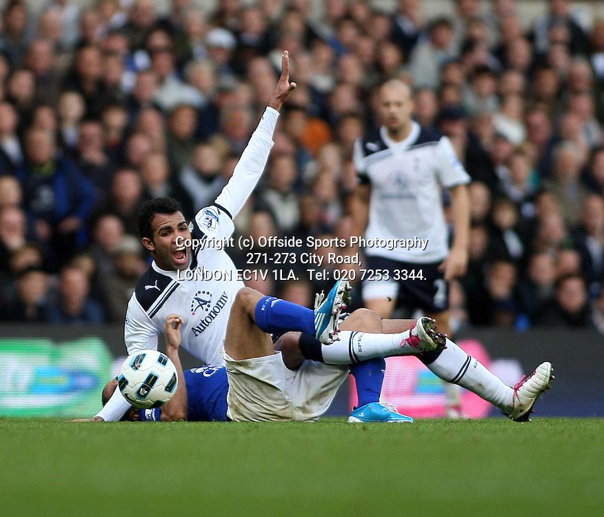 23/10/2010 Premier League football. Tottenham Hotspur v Everton.<br /> Sandro shouts as he is pulled by Francois Pienaar.<br /> Photo: Mark Leech.