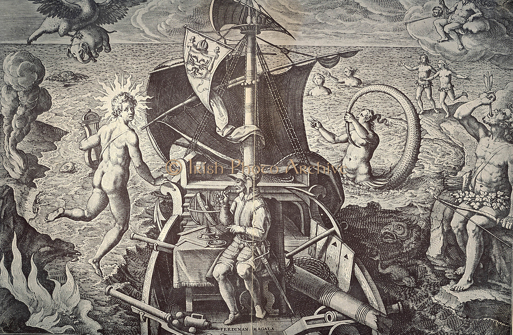 Ferdinand Magellan (c1480-1521) on his ship 'Victoria'.  Allegorical celebration of the first voyage of circumnavigation (1519-1522) led by Magellan.  He was killed by natives in the Philippines and the 'Victoria' was taken back to Spain by the last surviving captain in the expedition. Engraving after Stradanus, 1522.