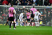MK Dons defender Lee Hodson goes close  during the The FA Cup Third Round Replay match between Milton Keynes Dons and Northampton Town at stadium:mk, Milton Keynes, England on 19 January 2016. Photo by Dennis Goodwin.