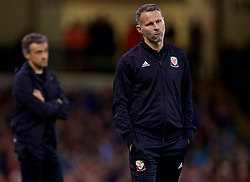 CARDIFF, WALES - Thursday, October 11, 2018: Wales' manager Ryan Giggs during the International Friendly match between Wales and Spain at the Principality Stadium. Spain won 4-1. (Pic by David Rawcliffe/Propaganda)