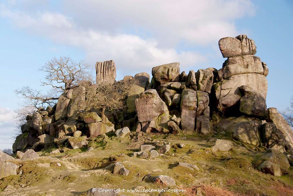 Derbyshire UK-8 March 2015: Robin Hood's Stride a tor of gritstone rocks on the Limestone Way on 8 March near Elton