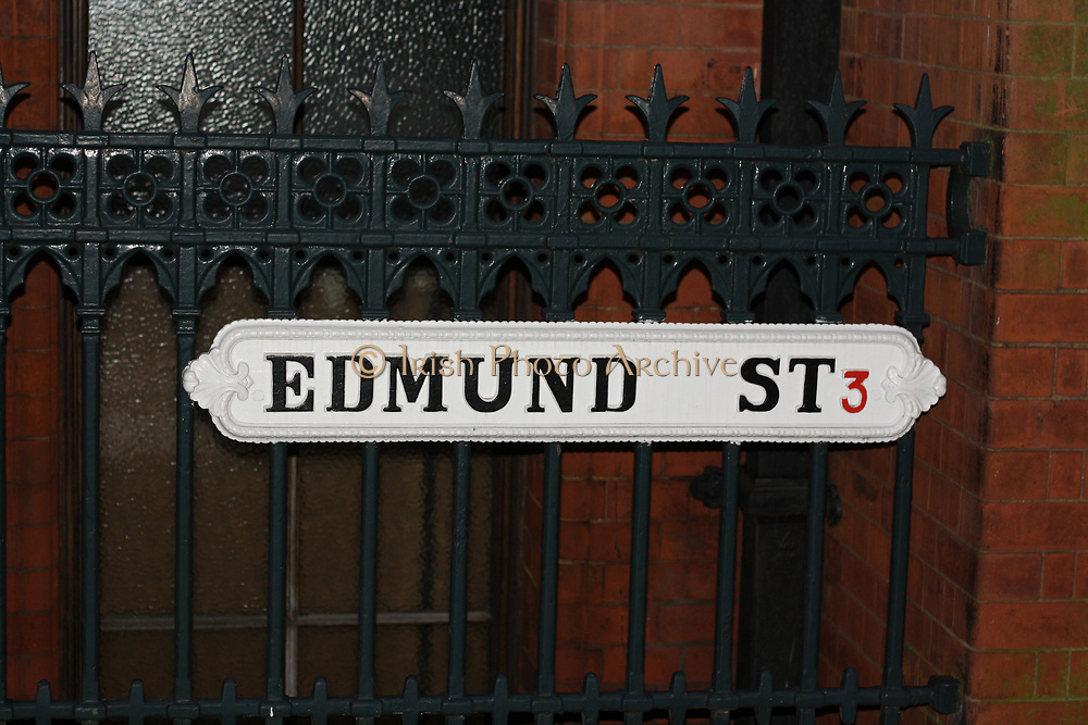 White city street sign (Name) late 19th century, Edmund Street, Birmingham, England.