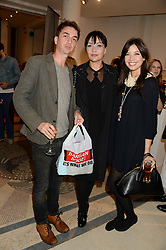 Left to right, DANNY GOFFEY, PEARL LOWE and DAISY LOWE at the Macmillan De'Longhi Art Auction 2013 held at the Royal College of Art, London on 23rd September 2013.