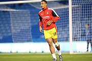 Rotherham United striker Jonson Clarke-Harris warming up during the Sky Bet Championship match between Brighton and Hove Albion and Rotherham United at the American Express Community Stadium, Brighton and Hove, England on 15 September 2015.