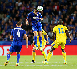 Islam Slimani of Leicester City wins a header - Mandatory by-line: Matt McNulty/JMP - 27/09/2016 - FOOTBALL - King Power Stadium - Leicester, England - Leicester City v FC Porto - UEFA Champions League