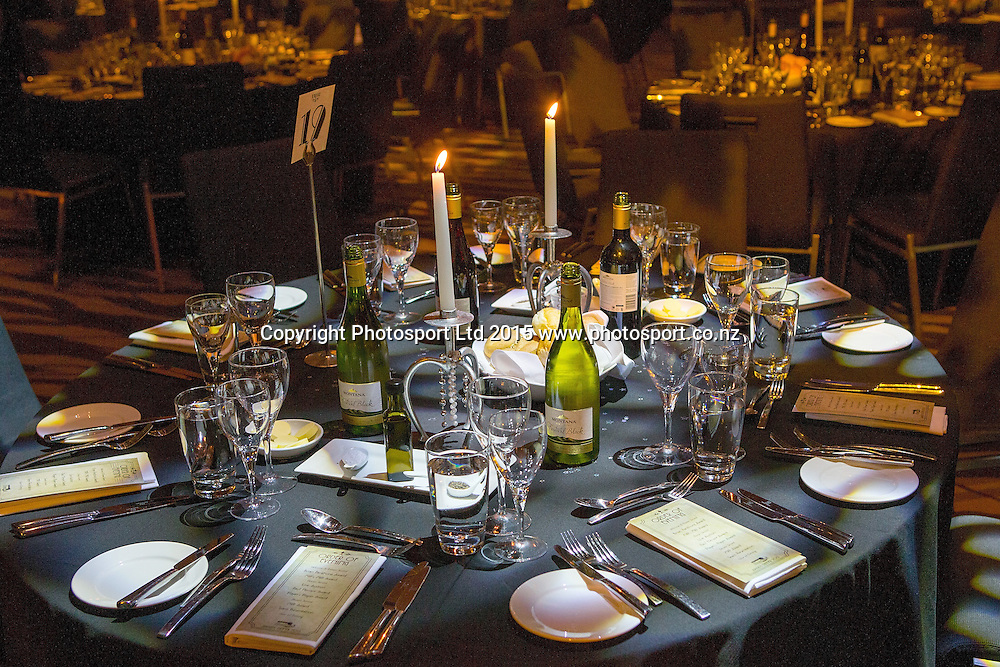 Table Setting at the SkyCity Breakers Awards, 2014-15, SkyCity Convention Centre, Auckland, New Zealand, Friday, March 20, 2015. Copyright photo: David Rowland / www.photosport.co.nz