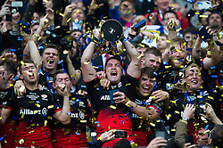 Brad Barritt of Saracens lifts the European Rugby Champions Cup trophy in celebration - Mandatory byline: Patrick Khachfe/JMP - 07966 386802 - 14/05/2016 - RUGBY UNION - Grand Stade de Lyon - Lyon, France - Saracens v Racing 92 - European Rugby Champions Cup Final.