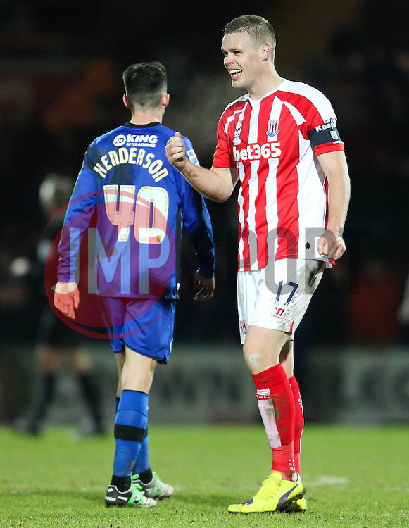 Stoke City's Ryan Shawcross celebrates Stoke's fourth goall - Photo mandatory by-line: Matt McNulty/JMP - Mobile: 07966 386802 - 26/01/2015 - SPORT - Football - Rochdale - Spotland Stadium - Rochdale v Stoke City - FA Cup Fourth Round