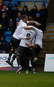 Bury FC Striker & Top Scorer Leon Clarke celebrates his goal with team mates during the Sky Bet League 1 match between Gillingham and Bury at the MEMS Priestfield Stadium, Gillingham, England on 14 November 2015. Photo by Andy Walter.