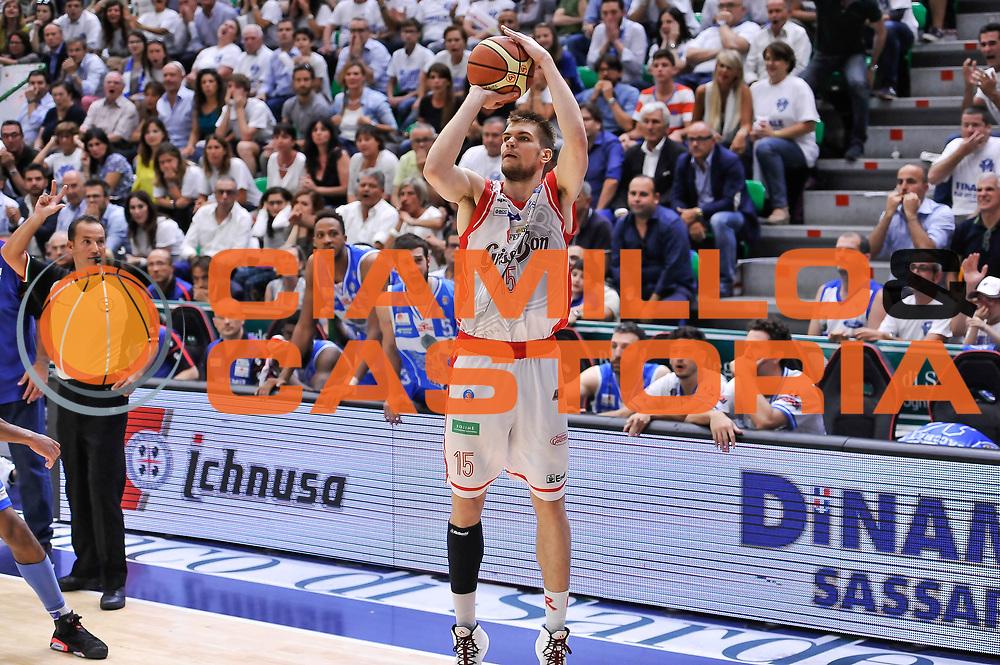 DESCRIZIONE : Campionato 2014/15 Serie A Beko Dinamo Banco di Sardegna Sassari - Grissin Bon Reggio Emilia Finale Playoff Gara3<br /> GIOCATORE : Ojars Silins<br /> CATEGORIA : Tiro Tre Punti Three Point<br /> SQUADRA : Grissin Bon Reggio Emilia<br /> EVENTO : LegaBasket Serie A Beko 2014/2015<br /> GARA : Dinamo Banco di Sardegna Sassari - Grissin Bon Reggio Emilia Finale Playoff Gara3<br /> DATA : 18/06/2015<br /> SPORT : Pallacanestro <br /> AUTORE : Agenzia Ciamillo-Castoria/L.Canu