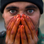 Afghan National Army soldiers seen on the front lines in Zhari District, Afghanistan.<br /> &copy; Louie Palu/ZUMA Press/New America Foundation