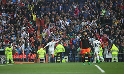 April 29, 2017 - Madrid, Spain - MADRID, SPAIN. APRIL 29th, 2017 - Cristiano Ronaldo celebrates after scoring the first goal. La Liga Santander matchday 35 game. Real Madrid defeated 2-1 Valencia with goals scored by Cristiano Ronaldo (26th minute) and Marcelo (86th minute). Parejo (82nd minute) scored for Valencia. Santiago Bernabeu Stadium. Photo by Antonio Pozo | PHOTO MEDIA EXPRESS (Credit Image: © Antonio Pozo/VW Pics via ZUMA Wire/ZUMAPRESS.com)
