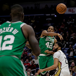 Nov 26, 2018; New Orleans, LA, USA; Boston Celtics center Al Horford (42) passes past New Orleans Pelicans forward Anthony Davis (23) during the second half at the Smoothie King Center. Mandatory Credit: Derick E. Hingle-USA TODAY Sports