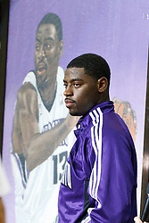 November 1, 2010; Sacramento, CA, USA;  Sacramento Kings point guard Tyreke Evans (13) was honored as the NBA rookie of the year before the game against the Toronto Raptors at the ARCO Arena.
