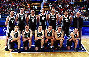 The Tall Blacks pose for a team photo before the Men's basketball match between the New Zealand Tall Blacks and France at the Olympics in Sydney, Australia on 17 September, 2000. Photo: PHOTOSPORT<br /><br /><br /><br /><br />170900 *** Local Caption ***