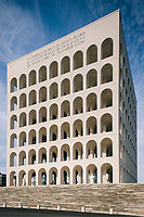 """ROME, ITALY - 15 OCTOBER 2018: A view of the Fendi Headquarters at the Palazzo della Civiltà Italiana, also called the """"Colosseo Quadrato"""" (Square Colosseum),  an outstanding jewel of the 20th century Roman architecture in Rome, Italy, on October 15th 2018.<br /> <br /> The LVMH Journées Particulières is is a series of exhibitions that show the creations and history of the LVMH fashion houses. The driving theme behind the Journées Particulières is to allow the general public to discover the inner workings of the Houses which are part of the LVMH heritage.The LVMH Journées Particulières exhibition by fashion house FENDI takes place at their headquarters at the Palazzo della Civiltà Italiana, also called the """"Colosseo Quadrato"""" (Square Colosseum),  an outstanding jewel of the 20th century Roman architecture."""