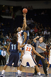 Virginia center Aisha Mohammed (33) and Old Dominion forward Tiffany Green (45) go up for the opening tip.  The #11 ranked / #5 seed Old Dominion Lady Monarchs defeated the #24 ranked / #4 seed Virginia Cavaliers 88-85 in overtime in the second round of the 2008 NCAA Women's Basketball Championship at the Ted Constant Convocation Center in Norfolk, VA on March 25, 2008.