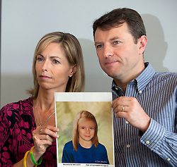 © Licensed to London News Pictures. 02/05/2012. London, U.K..Kate and Gerry McCann hold a news conference today 2nd May to mark the 5th anniversary of their daughter Madeleine's disappearance from the Algarve region of  Portugal, on the 3rd May 2007. The press conference was held at the offices of Burson-Marsteller UK. The press conference included an age-progression image of Madeleine of how she could look now..Photo credit : Rich Bowen/LNP