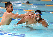 Warrior's Shaun Johnson, left,  at their pool session after training at Carisbrook, Moana pool, Dunedin, New Zealand, Friday, February 20, 2013. Credit:NINZ / Dianne Manson.