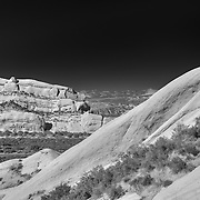 Mormon Rocks Highway 138 And Cajon Pass - Elevated North View - Infrared Black & White