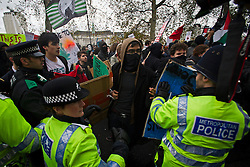 © London News Pictures. 21/11/2012. London, UK. People taking part in the march clash with police as Students and members of the NUS (National Union of Students) march through central London to protest against government cuts to further and higher education, on November 21, 2012. Photo credit: Ben Cawthra/LNP