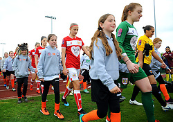 Players walk out with mascots prior to kick-off- Mandatory by-line: Nizaam Jones/JMP - 28/04/2019 - FOOTBALL - Stoke Gifford Stadium - Bristol, England - Bristol City Women v West Ham United Women - FA Women's Super League 1