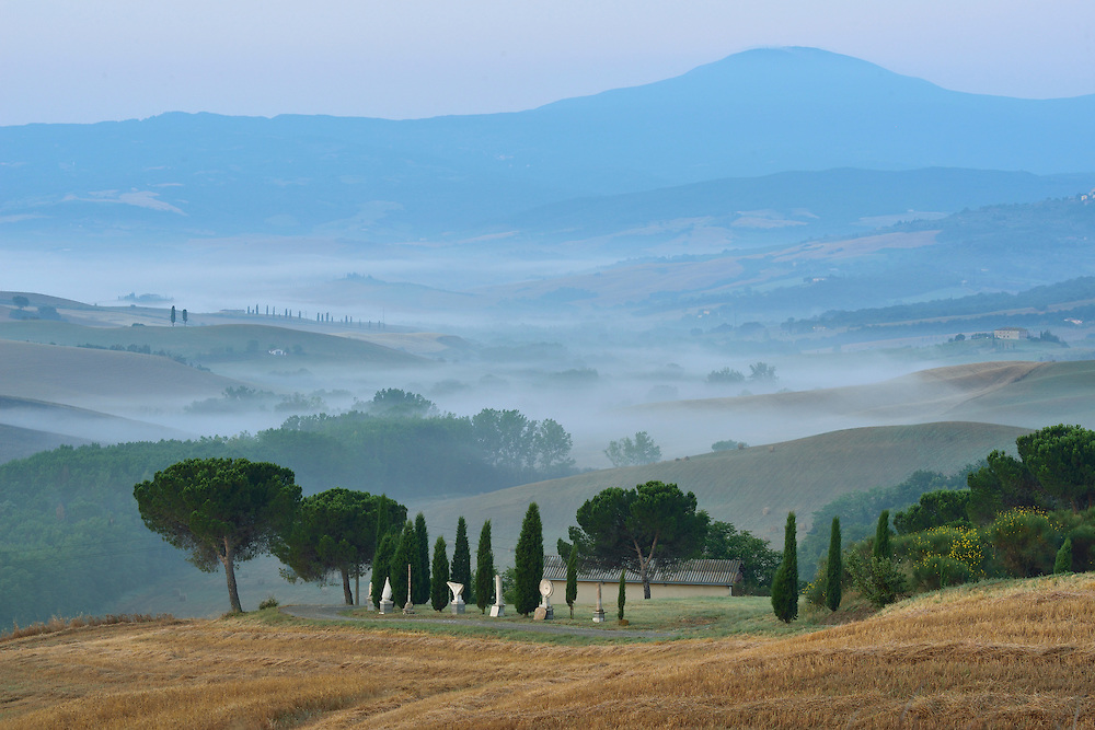 Hillside view on misty morning, Tuscany, Siena Province, Italy, Europe