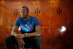 UK ENGLAND LONDON 28JUL13 - Jamaican sprinter Usain Bolt reacts during an interview at the Tower Hotel in London, England.<br /> <br /> <br /> <br /> He is the first man to hold both the 100 metres and 200 metres world records, and along with his teammates, he also set the world record in the 4×100 metres relay. He is the reigning Olympic champion in these three events, the first man to win six Olympic gold medals in sprinting, and a five-time World champion.<br /> <br /> <br /> <br /> jre/Photo by Jiri Rezac<br /> <br /> <br /> <br /> © Jiri Rezac 2013