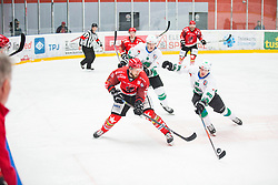 Miha BRUS vs Anej KUJAVEC during First league match between HDD Acroni Jesenice vs HK SZ Olimpia, on April 23, 2019 in Jesenice, Slovenia. Photo by Peter Podobnik / Sportida