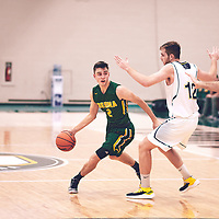 4th year guard, Samuel Hillis (2) of the Regina Cougars during the Men's Basketball Home Game on Sat Nov 03 at Centre for Kinesiology,Health and Sport. Credit: Arthur Ward/Arthur Images