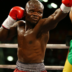 DURBAN, SOUTH AFRICA - MAY 16, Christopher Buthelezi middleweight during the pre fight card during the WBC ELIMINATION FIGHT,at the  Inkosi Albert Luthuli ICC, Durban May 16, 2015 in DURBAN, South Africa. (Photo by Steve Haag)