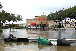 (170828) -- HOUSTON, Aug. 28, 2017 (Xinhua) -- A shopping area is flooded in Houston, Texas, the United States, Aug. 27, 2017. Widespread and worsening flood conditions prompted the closure of nearly every major road in Houston as the outer bands of Hurricane Harvey swept through the Houston area over the weekend. Latest news reports said the storm death toll has climbed to at least 5. (Xinhua/Zhong Jia) (zjl)  (Photo by Xinhua/Sipa USA)