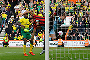 Callum Wilson (13) of AFC Bournemouth challenges Tim Krul (1) of Norwich City during the Premier League match between Bournemouth and Norwich City at the Vitality Stadium, Bournemouth, England on 19 October 2019.