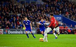 CARDIFF, WALES - Saturday, December 22, 2018: Manchester United's Jesse Lingard celebrates scoring the fourth goal from a penalty kick during the FA Premier League match between Cardiff City FC and Manchester United FC at the Cardiff City Stadium. Manchester United won 5-1.(Pic by Vegard Grøtt/Propaganda)