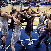 UNCASVILLE, CONNECTICUT- MAY 05: Players challenge for a rebound during the San Antonio Stars Vs Connecticut Sun preseason WNBA game at Mohegan Sun Arena on May 05, 2016 in Uncasville, Connecticut. (Photo by Tim Clayton/Corbis via Getty Images)