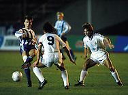 05.10.1988, Helsinki, Finland..European Cup, HJK Helsinki v FC Porto.Erik Holmgren (HJK) v Gomes (9) & Sousa (Porto).©Juha Tamminen