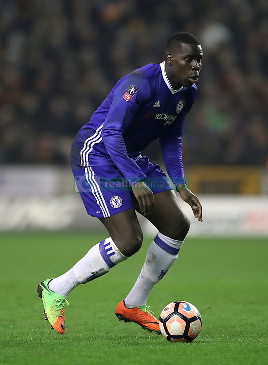 "Chelsea's Kurt Zouma during the Emirates FA Cup, Fifth Round match at Molineux, Wolverhampton. PRESS ASSOCIATION Photo. Picture date: Saturday February 18, 2017. See PA story SOCCER Wolves. Photo credit should read: Nick Potts/PA Wire. RESTRICTIONS: EDITORIAL USE ONLY No use with unauthorised audio, video, data, fixture lists, club/league logos or ""live"" services. Online in-match use limited to 75 images, no video emulation. No use in betting, games or single club/league/player publications."