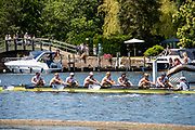 Henley on Thames, England, United Kingdom, 4th July 2019, Henley Royal Regatta, Temple Challenge Trophy, Northeastern University A,  pass  the one mile and one eight barrier,  Henley Reach, [© Peter SPURRIER/Intersport Image]<br /> <br /> 12:21:06 1919 - 2019, Royal Henley Peace Regatta Centenary,