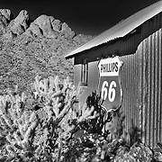 Phillips 66 Sign And Eldorado Hills - Eldorado Canyon - Nelson NV - HDR - Infrared Black & White