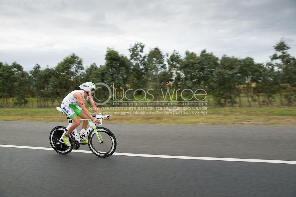 Mario Vanhoenacker (BEL), March 23, 2014 - Ironman Triathlon : Bike Course. Ironman Melbourne Race, Bike Cycle Course Between Frankston And Ringwood Tunnel, Melbourne, Victoria, Australia. Credit: Lucas Wroe