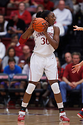 Nov 13, 2011; Stanford CA, USA;  Stanford Cardinal forward Nnemkadi Ogwumike (30) holds the ball against the Gonzaga Bulldogs during the first half at Maples Pavilion.  Stanford defeated Gonzaga 76-61. Mandatory Credit: Jason O. Watson-US PRESSWIRE